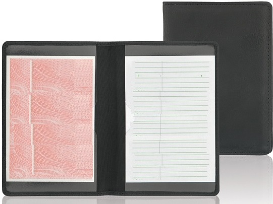 Crazy horse leather on cover for car driving document