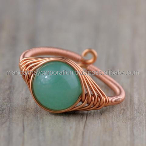 silver rose gold plated wire wrapped charming ring