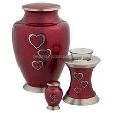 FALLING HEARTS CREMATION URN WITH TOKEN AND T LIGHT