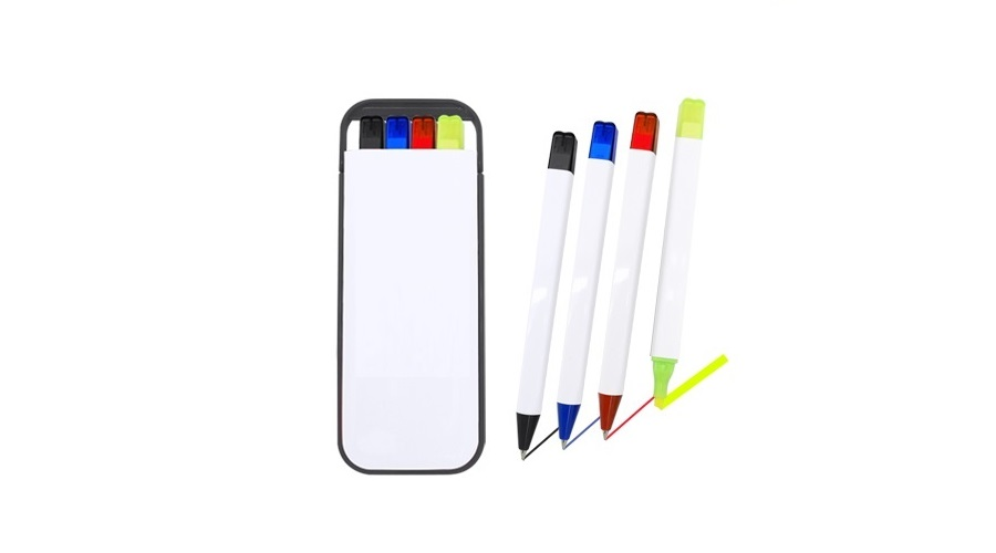 H0104 Pens & Highlighter Set with personalised logo printing