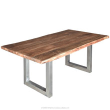 suar wood tama stainless steel dining table furniture