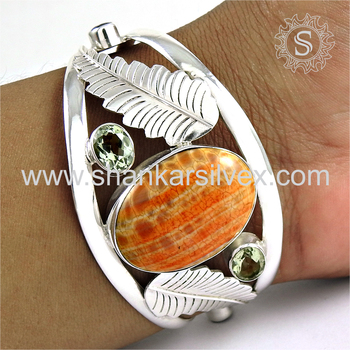 Summer beauty multi stone bangle 925 sterling silver jewellery wholesale store india