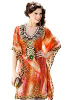 Digital Print Embellished short sleeve kaftan