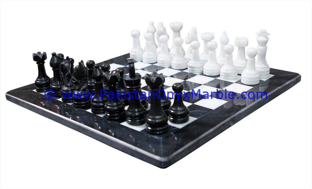 NATURAL STONE MARBLE CHESS SET BOARDS CHECKERS GAME BLACK AND WHITE MARBLE