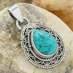 Drop shape turquoise gemstone pendant indian silver jewelry wholesale supplier sterling silver pendant