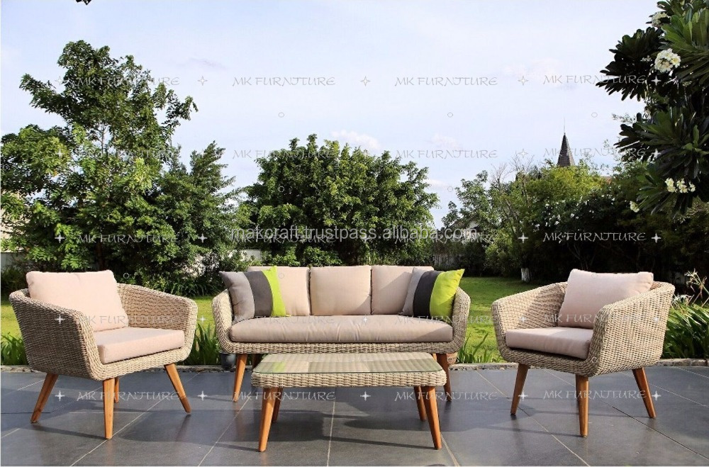 Synthetic wicker rattan pvc pe garden outdoor teak wood sofa set furniture - Patio Outdoor Wood Sofa Set