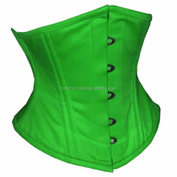 Green Cotton Waspie Corsets With Double Steelboned Supplier