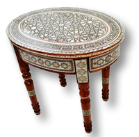 W40 Handcrafted Inlaid Mother Of Pearl Mosaic Art Oval Occasional/End Table