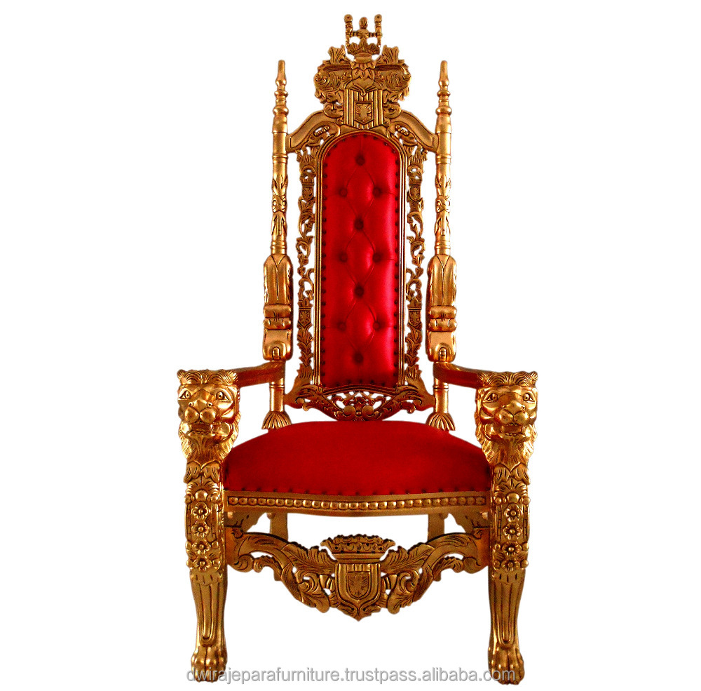 Antique Reproduction Furniture Indonesia - King Lion Throne Chair Mahogany Wedding Furniture