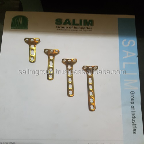 Safety Lock (LCP) 'T' Plate 3.5mm Right Angled Titanium 3 4 5 6 Hole Gold