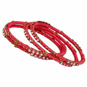 Jaipur Mart Gold Plated Pink Color Glass Stone Bangles Set PLKB289-2.6