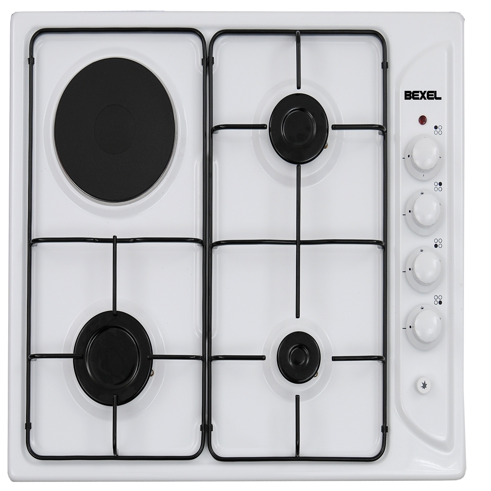 BEXEL WHITE 3 GAS BURNER 1 HOTPLATE BUILT-IN HOB