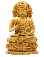 wooden hand carving buddha statue