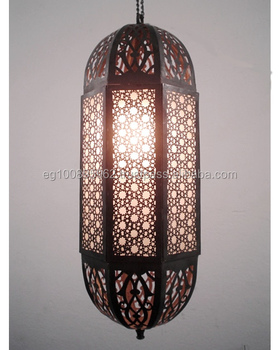 B109 Beautiful Moroccan Lamp/Lantern Lined W/Stained Glass