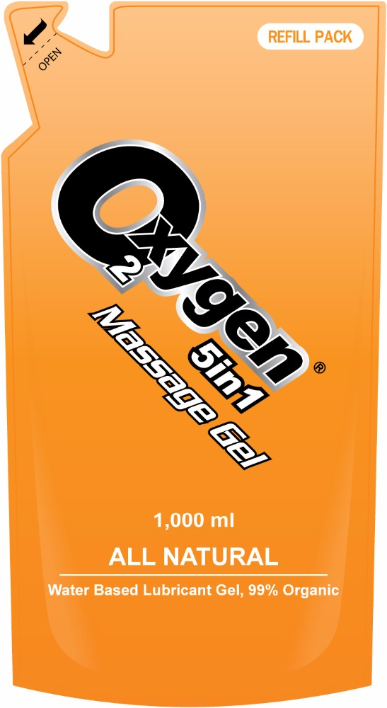 Oxygen Massage Gel 5 in 1 Original 1,000 ml, All natural water based lubricant gel, 99% organic