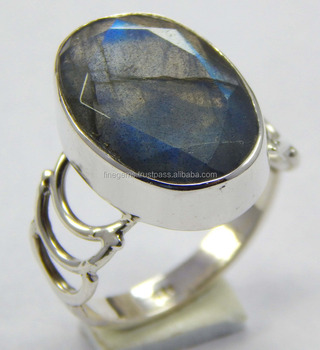 925 Sterling Silver size 6.75 US with Natural faceted Labradorite gemstone ring