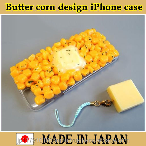 Unique and High quality butter corn design case with strap for mobile phone