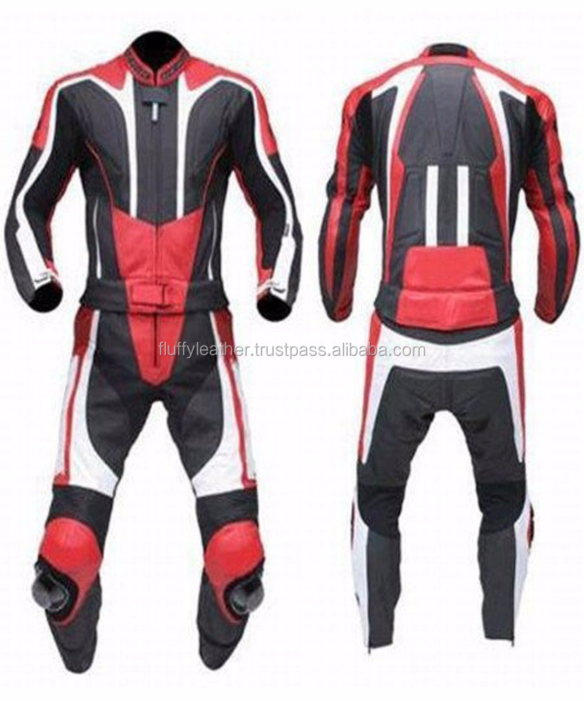 MOTORBIKE LEATHER SUIT RACING BIKER SUIT 2PC ARMOUR--MS-129