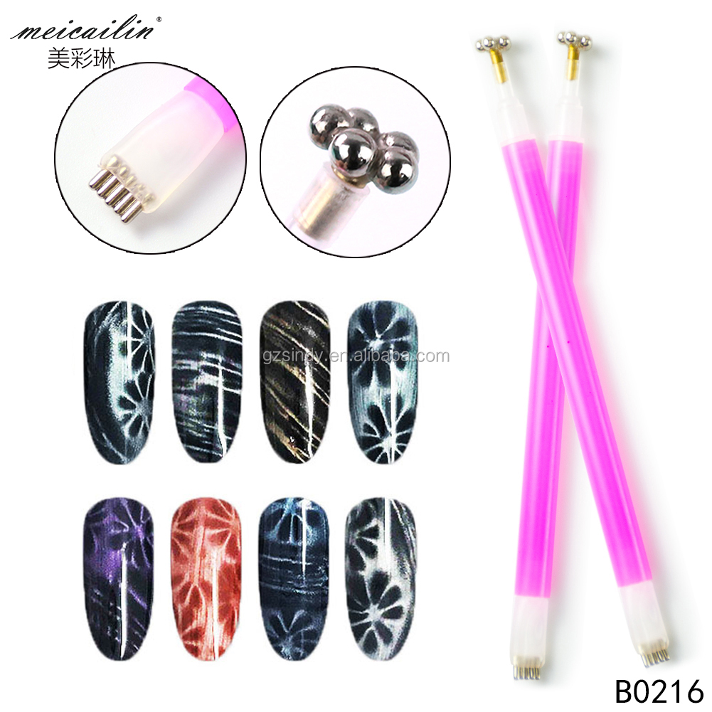 Double Head Design Nail Art Magnetic Pen for 3D Cat Eyes Gel Polish Magnet