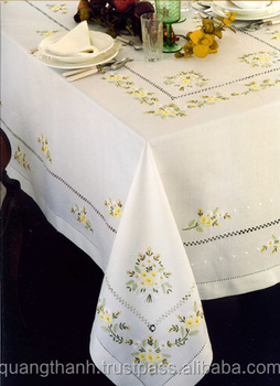 Hand embroidery tablecloth