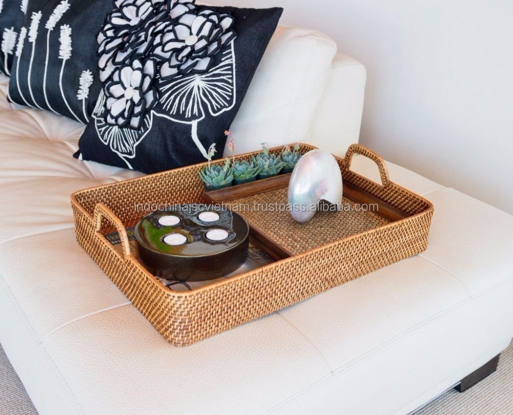 Food serving tray made from rattan/ natural material
