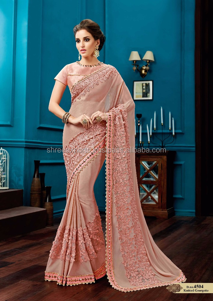 Peach Shine Georgette Saree / Bollywood Sarees Online Shopping / Shop Sarees Online