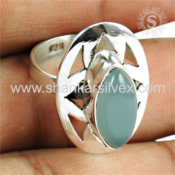 Exclusive design chalcedony gemstone silver ring jewellery 925 sterling silver rings jewelry manufacturing
