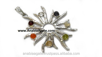 Chakra Burning Sun Metal Pendant: Wholesale Metal Pendant