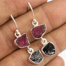 Wonderful Dangle Earrings 925 Solid Sterling Silver Natural PINK & BLACK TOURMALINE Gemstones Jewelry Earings