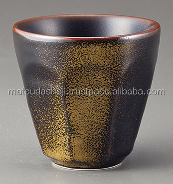 Black and gold sake cup of pottery, Japanese high quality products , small lot order available