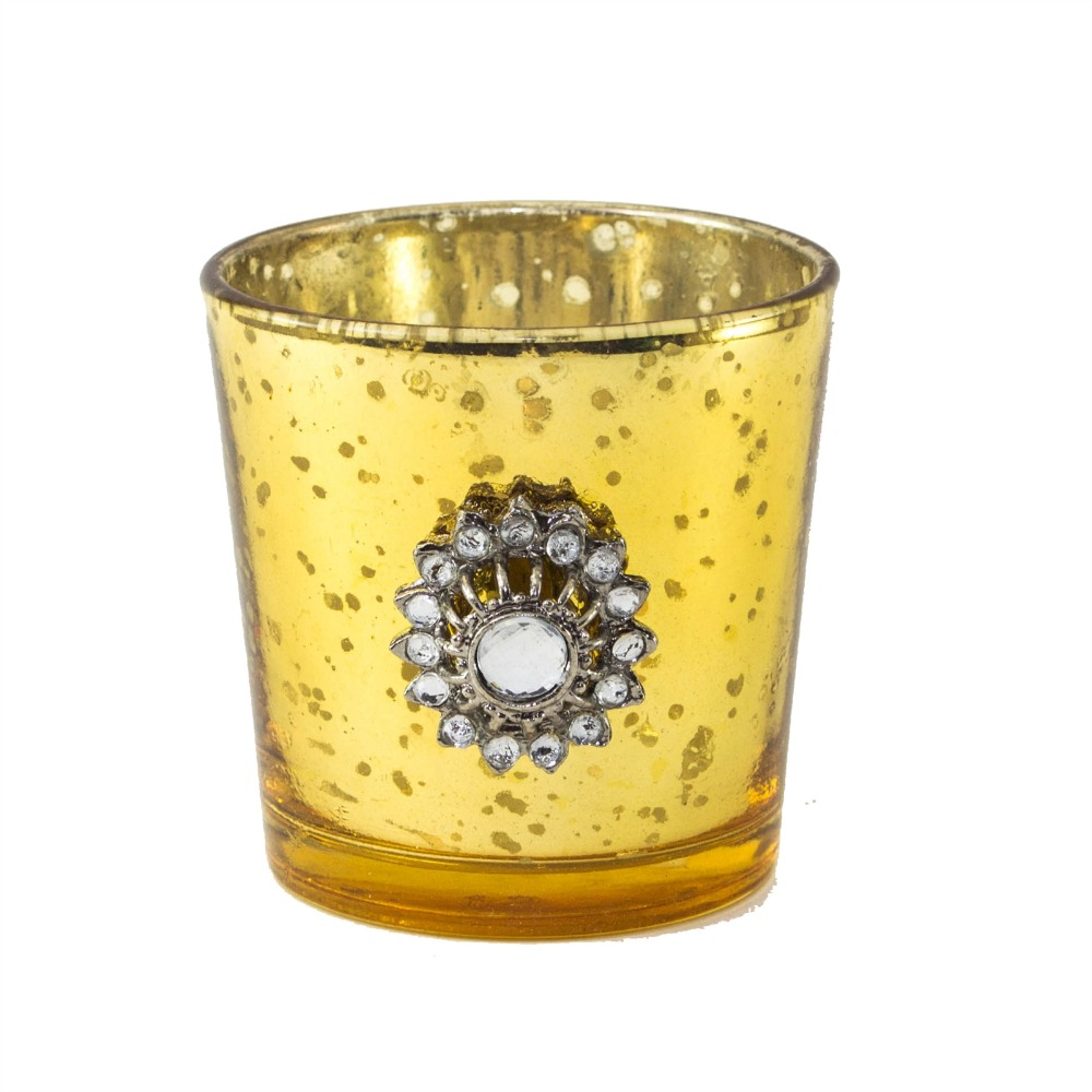 Silver Glass Votive with Jewel Ring and Dangler Yellow