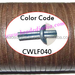Leather Cords 3.0mm flat, metallic color - ice blue. Weight: 350 grams. CWLF30040