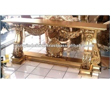 Sarah Living Room Mahogany Wooden Gold Console Table Indonesia furniture
