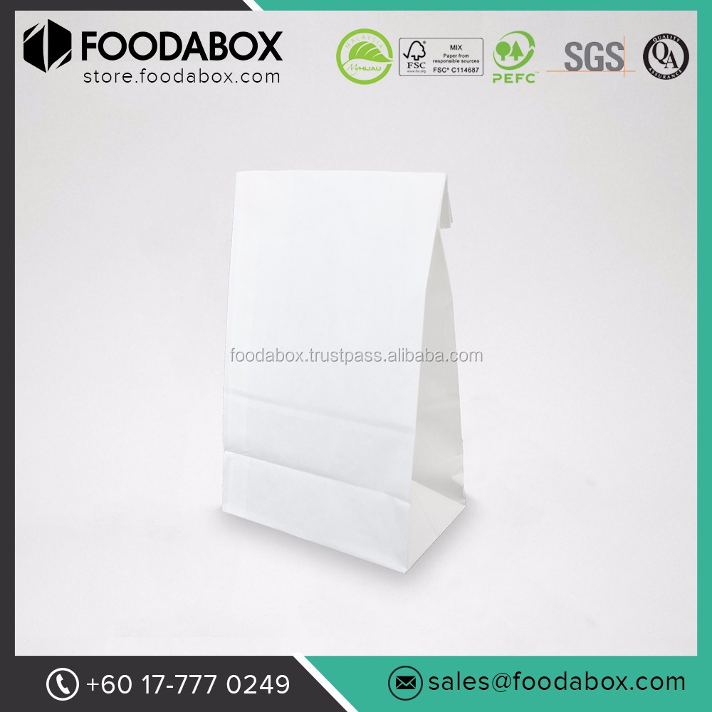 Good Quality and Cheap Disposable White Paper Shopping Take Away Bags #SOS 8