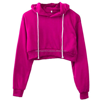 Hot Pink crop top hoodie for women custom logo crop hoodies / crop hoodies manufacturer