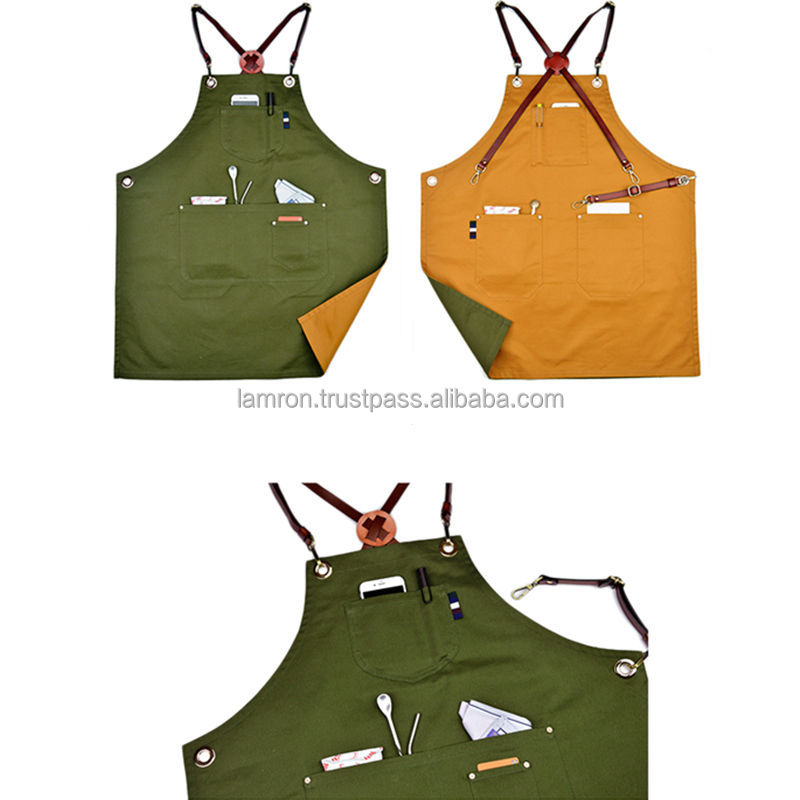 Double Sides Multicolored Cotton Bib Apron With Leather X Strap & Pockets Barber Salon Aprons Hairdressing Unisex Aprons