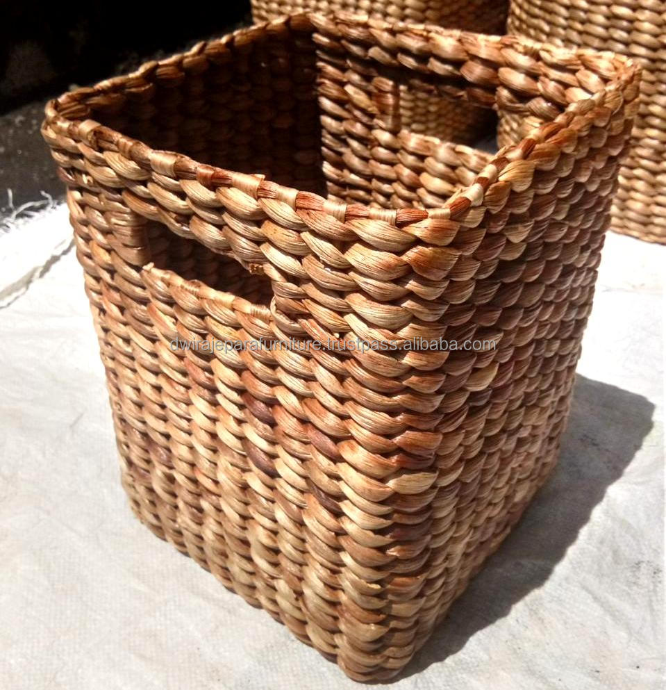 Natural Water Hyacinth Square Storage Basket   Buy Water Hyacinth Basket,Water  Hyacinth Storage Basket,Square Coffee Water Hyacinth Laundry Basket Product  ...