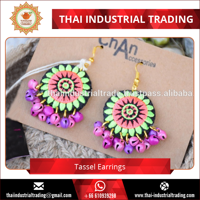 Chiang Mai Thailand Handmade Retro Vintage Women Boho Earring Long Bohemian Pierced Dangle Earrings Boho Drop Earrings for Women