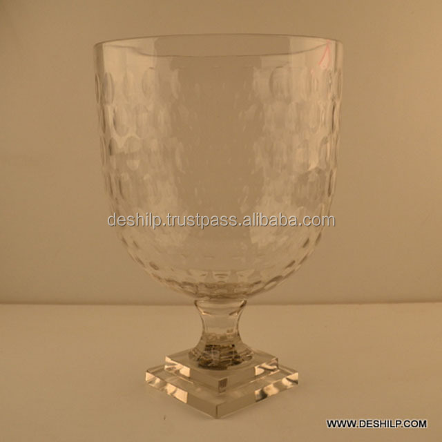 Clear Glass Cutting candle Holder Square Base And Round Head