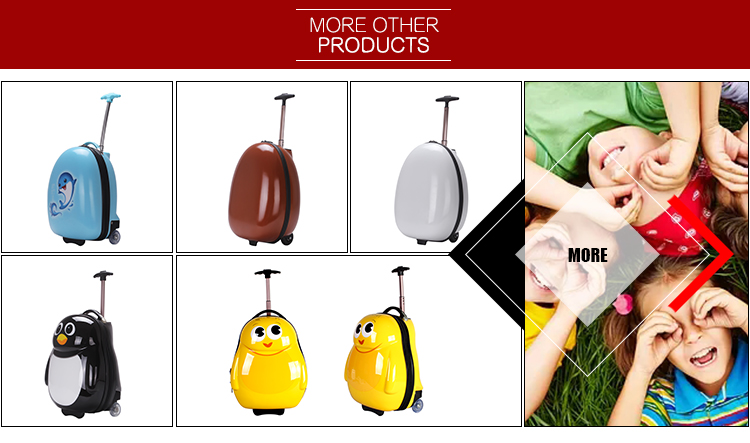 High quality 16 inch cute penguin children zipper suitcases luggage