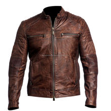 New Design Washed Waxed Brown style Pure Sheep Leather Jacket For Men