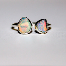 Sterling Silver dual gemstone adjustable Rough Opal Ring - Rough ethiopian Opal