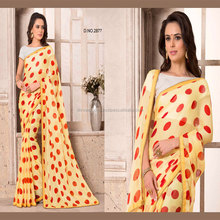 Yellow Pure Chiffon Saree / Designer Sarees Buy Online / Saree Online Buy