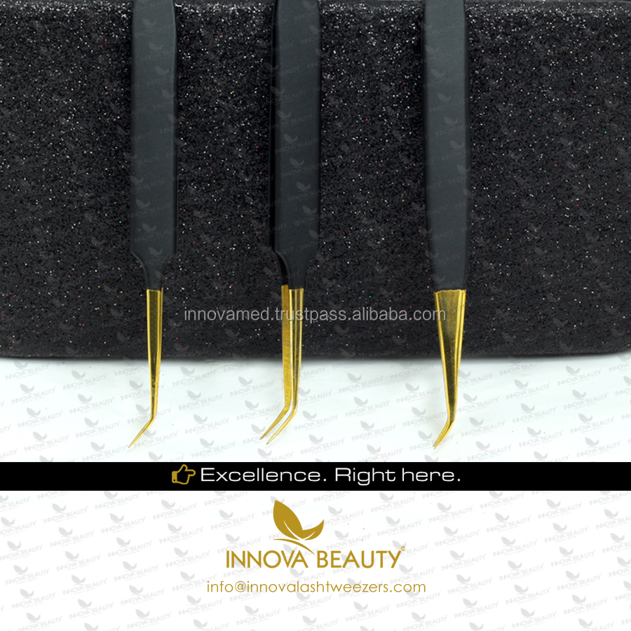 Top-Notch Quality Eyelash Extension Tweezers with Delicate Gold Tips and White Glitter/ Perfect Eyelash Tweezers in 14cm
