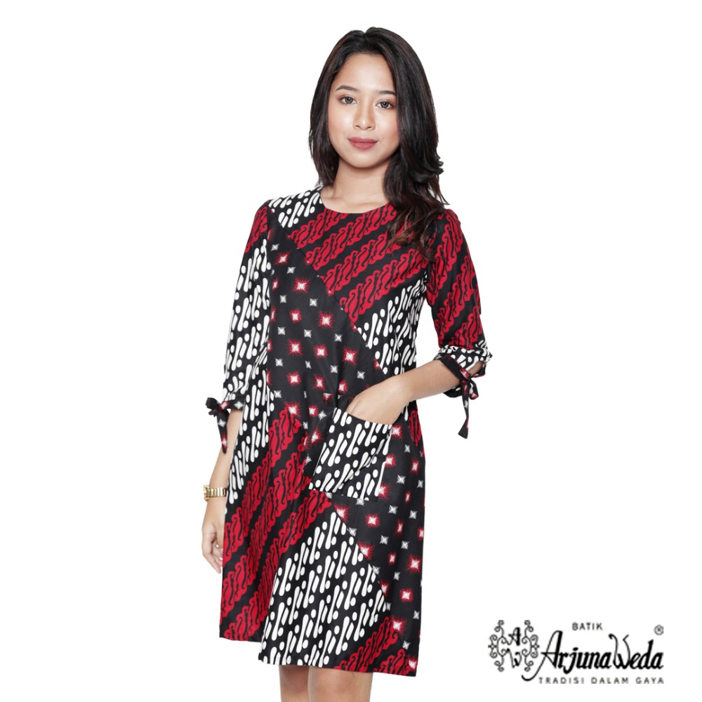 Indonesia Parang Bintang Batik Pattern Woman Fancy Cassual Dress
