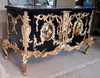Rococo Style Black Inlaid Home Furniture with Intricate Top Design Commode