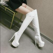white long thight boots patent leather Platform boots customized