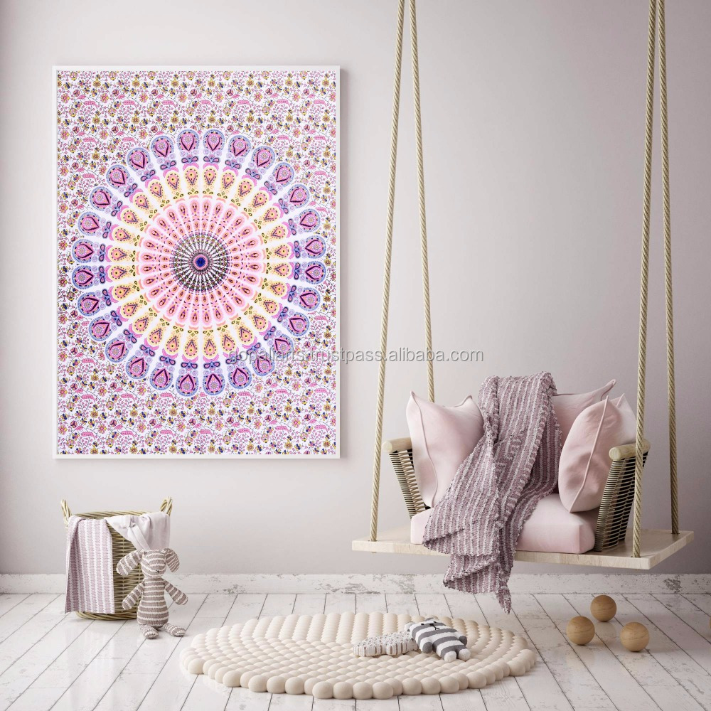 Indian latest Mandala Tapestry Bohemian Poster Wall Decor Tapestries Ethnic Cotton Yoga Mat