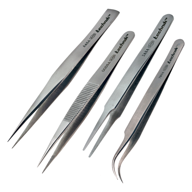Various Styles Stainless Steel Professional High Precision Tweezers, Corrosion Resistant | Technik Series