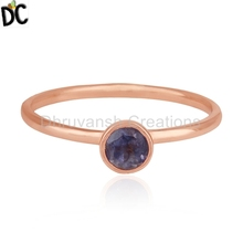 925 Sterling Silver Rose Gold Plated Rings Natural Iolite Gemstone Jewelry Wholesale Supplier